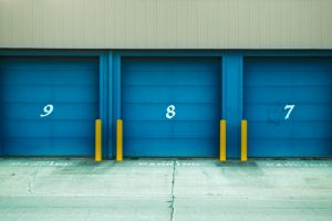 Blue-door storage units with number 9,8,7.