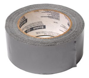 A roll of gray duct tape used for packing your garage for relocation