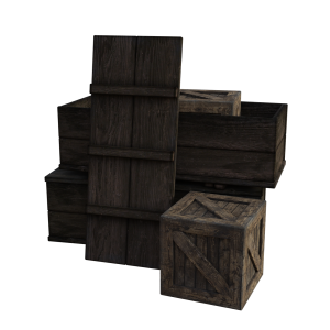 A few wooden crates and a white background