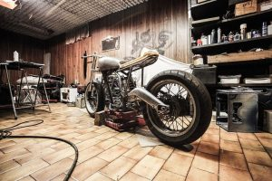 A motorbike in a garage is easy to unpack in a day
