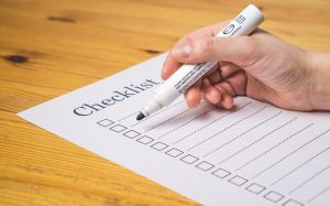Create a checklist of all of your belongings.
