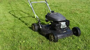 A black lawnmower
