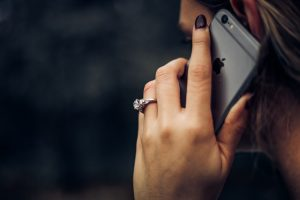 A woman talking on the phone