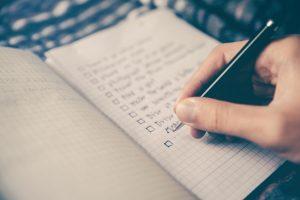 A person making a checklist