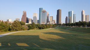 downtown city of Houston on the horizon