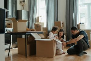 A family packing for relocation