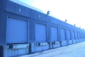 a blue painter exterior of the warehouse