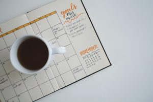 cup of coffee on a calendar