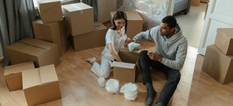 a couple wrapping and packing items