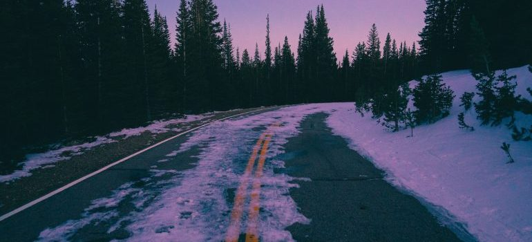 Icy and snowy road.