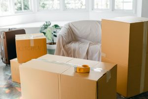 bunch of cardboard boxes you will use to get accurate in-home estimates