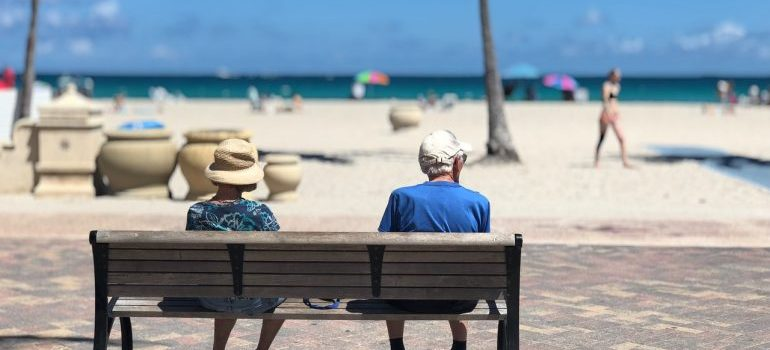 Elderly people sitting on the bench